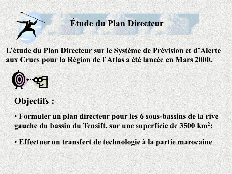 Objectifs : Formuler un plan directeur pour les 6 sous-bassins de la rive gauche du bassin du Tensift, sur une superficie de 3500 km 2 ; Effectuer un transfert de technologie à la partie marocaine.