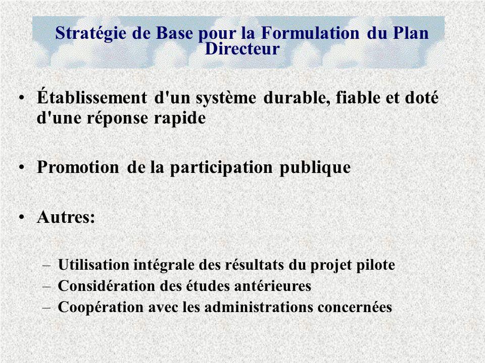 Établissement d'un système durable, fiable et doté d'une réponse rapide Promotion de la participation publique Autres: –Utilisation intégrale des résu