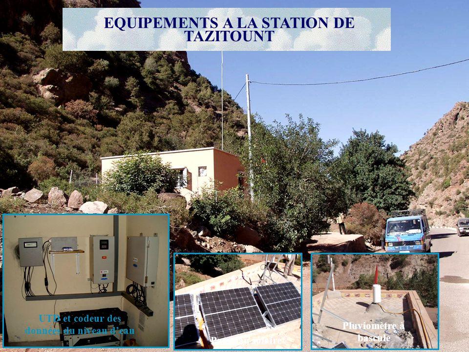 Pluviomètre à bascule Panneau solaire UTD et codeur des données du niveau deau EQUIPEMENTS A LA STATION DE TAZITOUNT