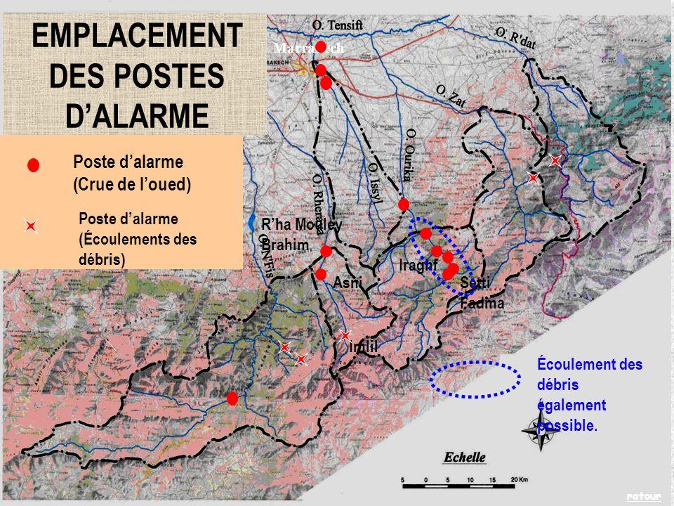 Marrakech Iraghf Setti Fadma Rha Mouley Brahim Asni Imlil Écoulement des débris également possible.