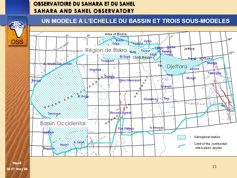 Trîpoli 25-27 May 08 11 UN MODELE A LECHELLE DU BASSIN ET TROIS SOUS-MODELES Djeffara Région de Biskra Bassin Occidental