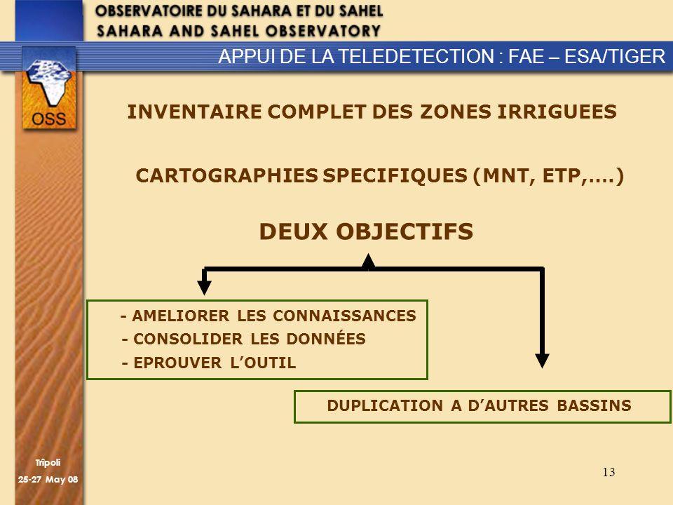 Trîpoli 25-27 May 08 13 CARTOGRAPHIES SPECIFIQUES (MNT, ETP,….) APPUI DE LA TELEDETECTION : FAE – ESA/TIGER INVENTAIRE COMPLET DES ZONES IRRIGUEES DEUX OBJECTIFS - AMELIORER LES CONNAISSANCES - CONSOLIDER LES DONNÉES - EPROUVER LOUTIL DUPLICATION A DAUTRES BASSINS