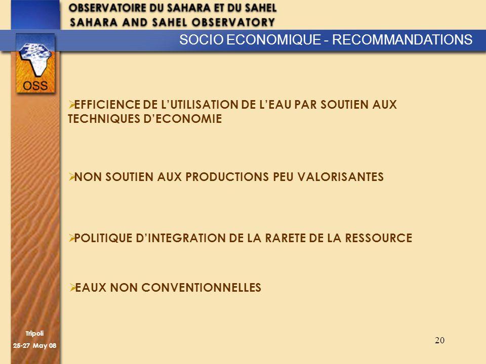 Trîpoli 25-27 May 08 20 SOCIO ECONOMIQUE - RECOMMANDATIONS EFFICIENCE DE LUTILISATION DE LEAU PAR SOUTIEN AUX TECHNIQUES DECONOMIE NON SOUTIEN AUX PRO