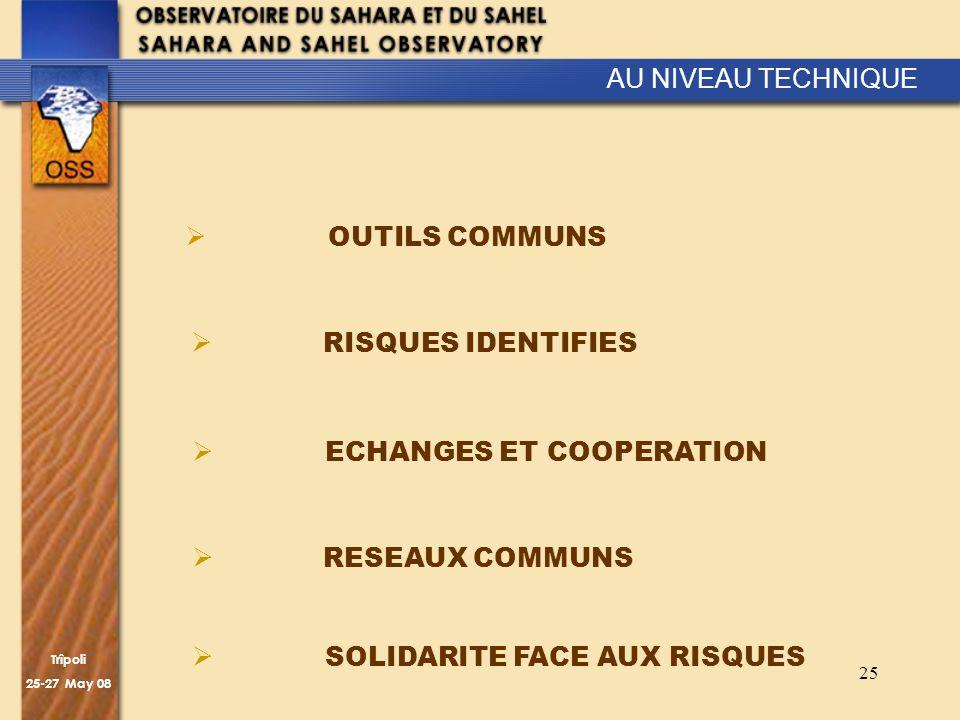 Trîpoli 25-27 May 08 25 AU NIVEAU TECHNIQUE OUTILS COMMUNS ECHANGES ET COOPERATION SOLIDARITE FACE AUX RISQUES RESEAUX COMMUNS RISQUES IDENTIFIES