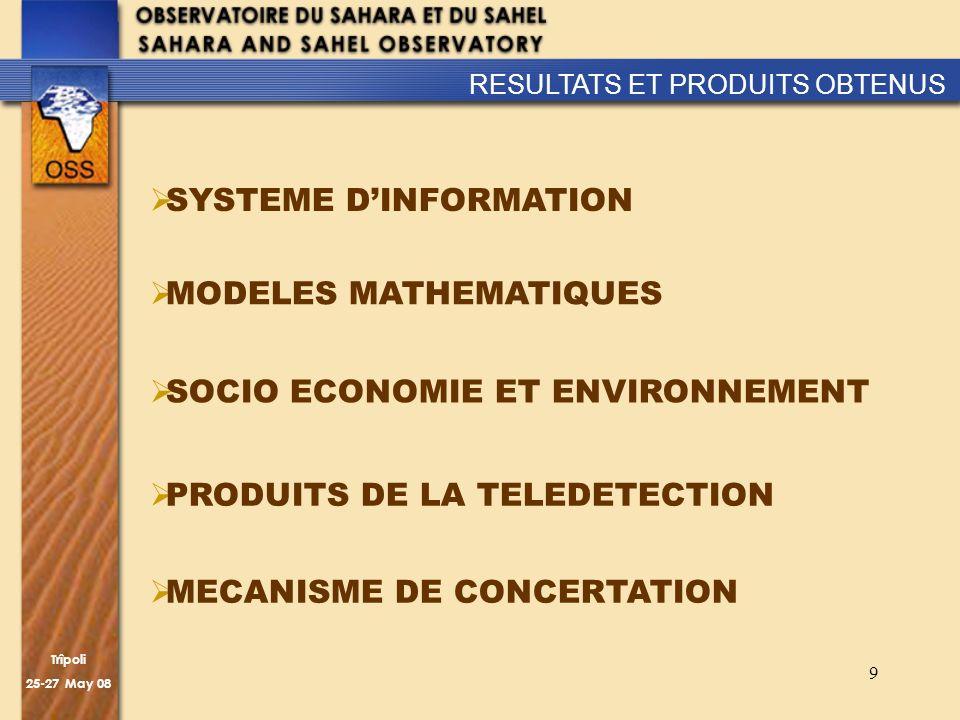 Trîpoli 25-27 May 08 9 SYSTEME DINFORMATION MODELES MATHEMATIQUES RESULTATS ET PRODUITS OBTENUS SOCIO ECONOMIE ET ENVIRONNEMENT PRODUITS DE LA TELEDET