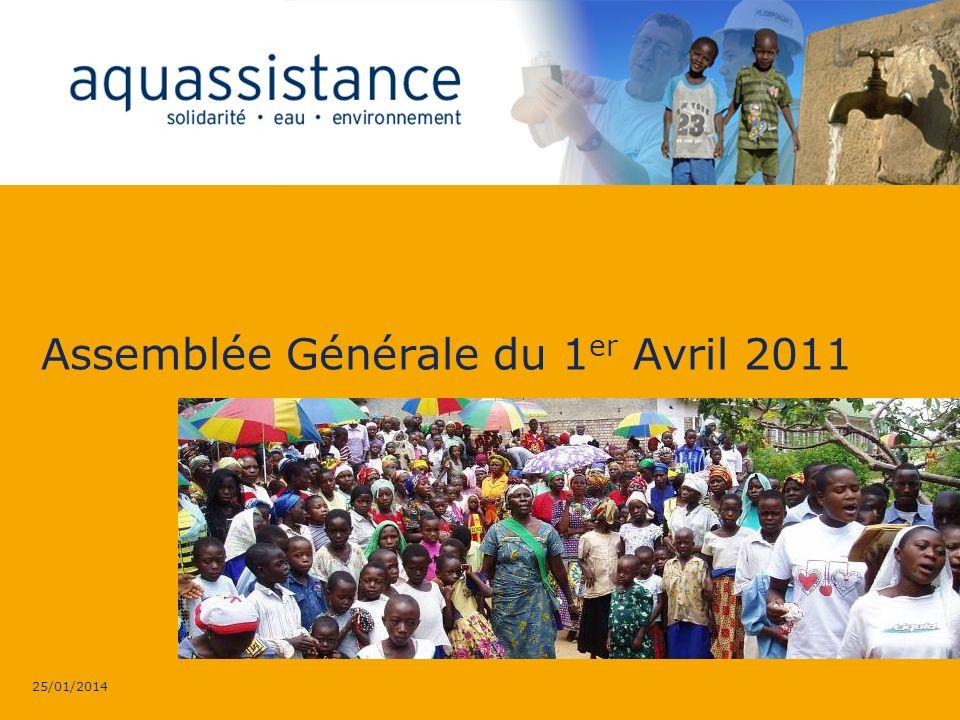 AQUASSISTANCE 25/01/2014 > Assemblée Générale 1er Avril 2011 12 Les premières étapes Des premiers relevés de terrain sont effectués avant la réalisation du projet définitif