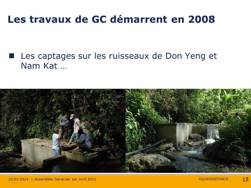 AQUASSISTANCE 25/01/2014 > Assemblée Générale 1er Avril 2011 15 Les travaux de GC démarrent en 2008 Les captages sur les ruisseaux de Don Yeng et Nam Kat …