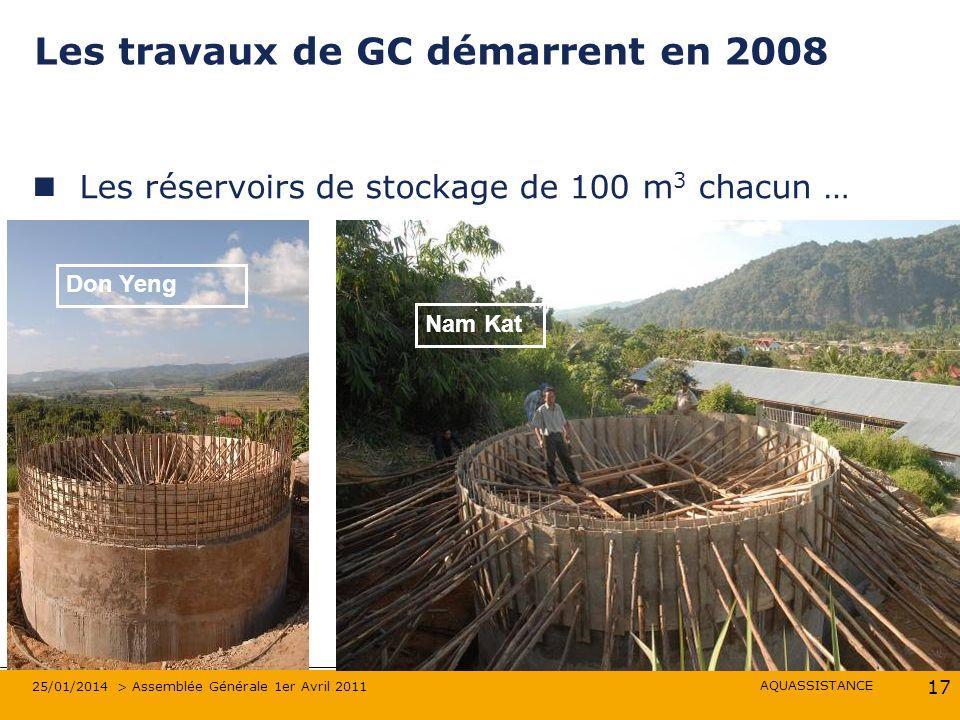 AQUASSISTANCE 25/01/2014 > Assemblée Générale 1er Avril 2011 17 Les travaux de GC démarrent en 2008 Les réservoirs de stockage de 100 m 3 chacun … Nam Kat Don Yeng
