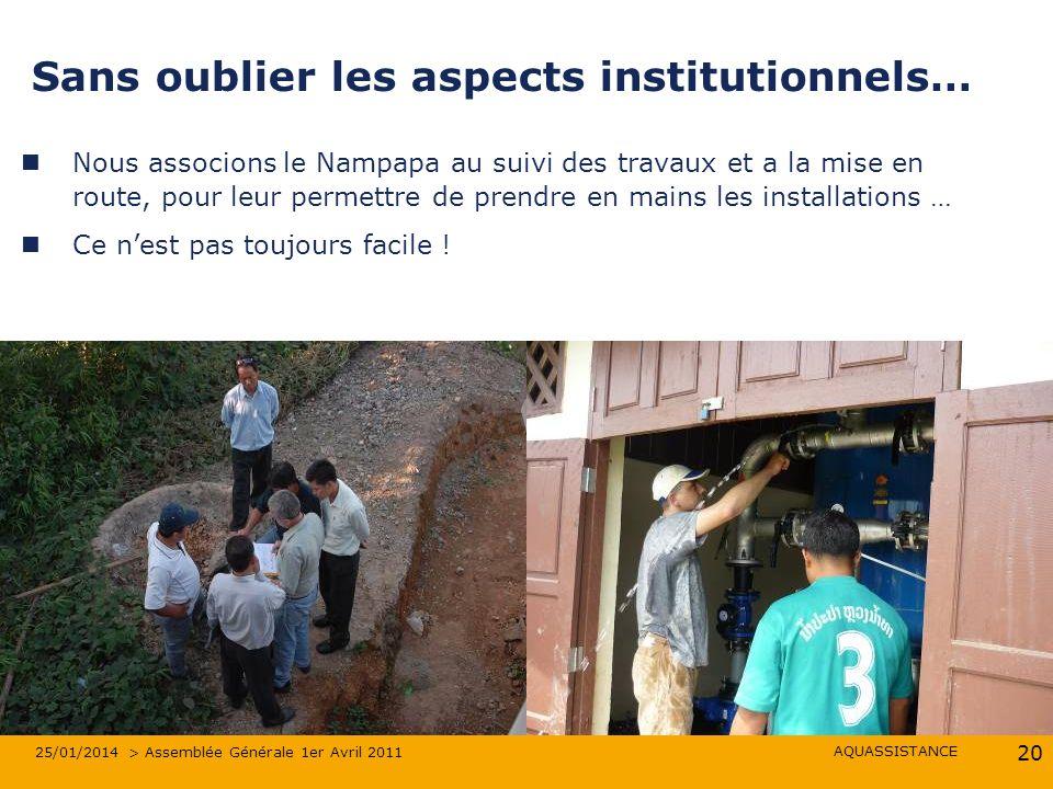 AQUASSISTANCE 25/01/2014 > Assemblée Générale 1er Avril 2011 20 Sans oublier les aspects institutionnels… Nous associons le Nampapa au suivi des trava