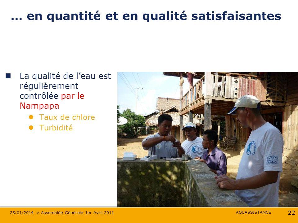 AQUASSISTANCE 25/01/2014 > Assemblée Générale 1er Avril 2011 22 … en quantité et en qualité satisfaisantes La qualité de leau est régulièrement contrô