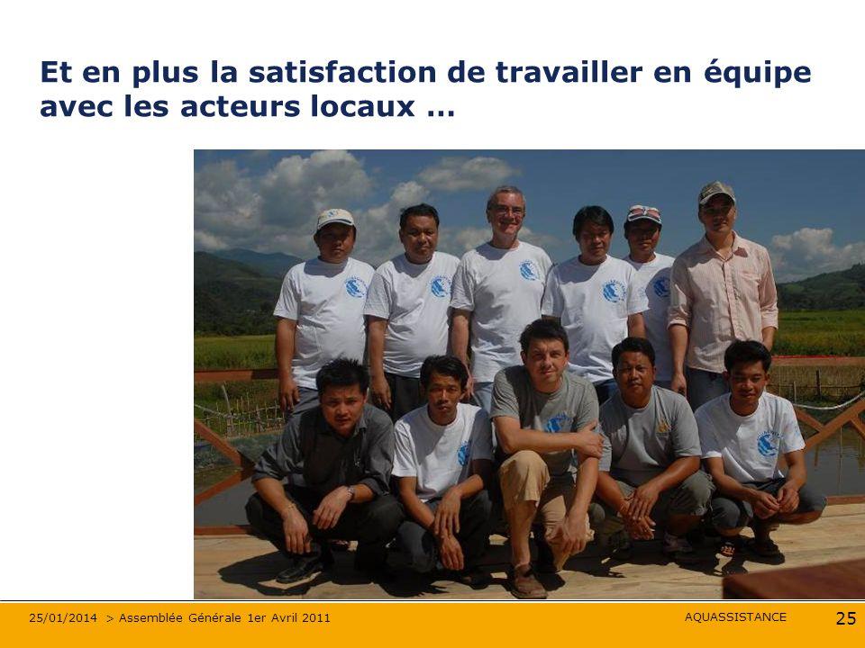 AQUASSISTANCE 25/01/2014 > Assemblée Générale 1er Avril 2011 25 Et en plus la satisfaction de travailler en équipe avec les acteurs locaux …
