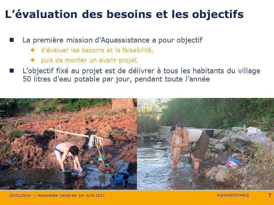 AQUASSISTANCE 25/01/2014 > Assemblée Générale 1er Avril 2011 7 Lévaluation des besoins et les objectifs La première mission dAquassistance a pour objectif dévaluer les besoins et la faisabilité, puis de monter un avant-projet.