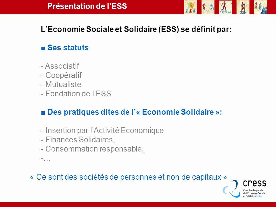 LEconomie Sociale et Solidaire (ESS) se définit par: Ses statuts - Associatif - Coopératif - Mutualiste - Fondation de lESS Des pratiques dites de l«