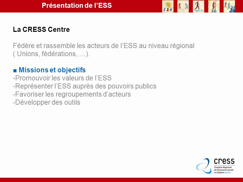 La CRESS Centre Fédère et rassemble les acteurs de lESS au niveau régional ( Unions, fédérations, …). Missions et objectifs -Promouvoir les valeurs de