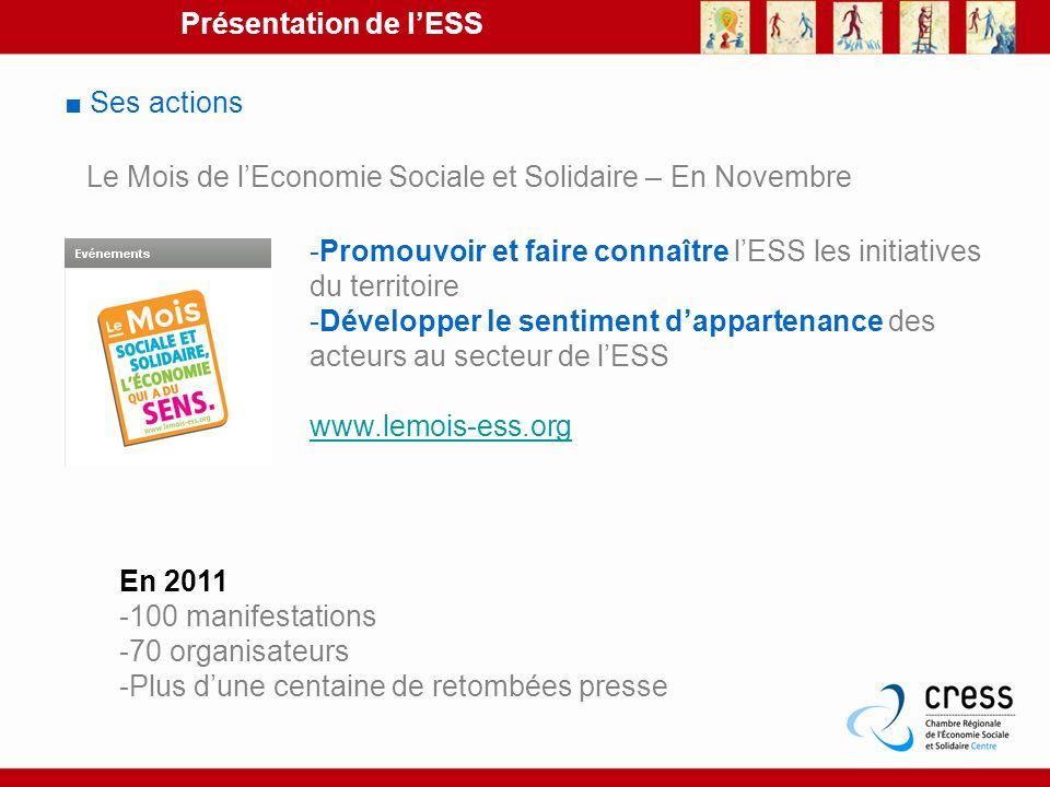 Présentation de lESS Ses actions Le Mois de lEconomie Sociale et Solidaire – En Novembre -Promouvoir et faire connaître lESS les initiatives du territ