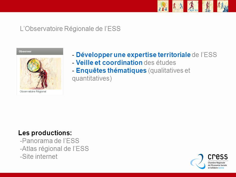 LObservatoire Régionale de lESS - Développer une expertise territoriale de lESS - Veille et coordination des études - Enquêtes thématiques (qualitativ