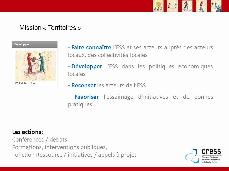 Mission « Territoires » - Faire connaître lESS et ses acteurs auprès des acteurs locaux, des collectivités locales - Développer lESS dans les politiqu