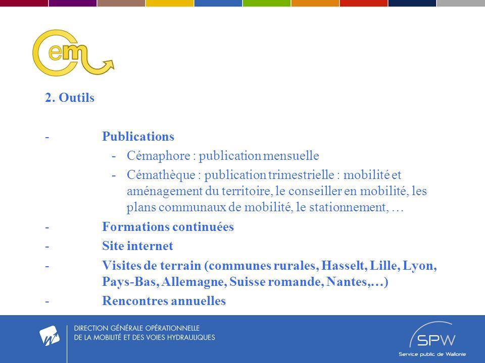 2. Outils -Publications -Cémaphore : publication mensuelle -Cémathèque : publication trimestrielle : mobilité et aménagement du territoire, le conseil