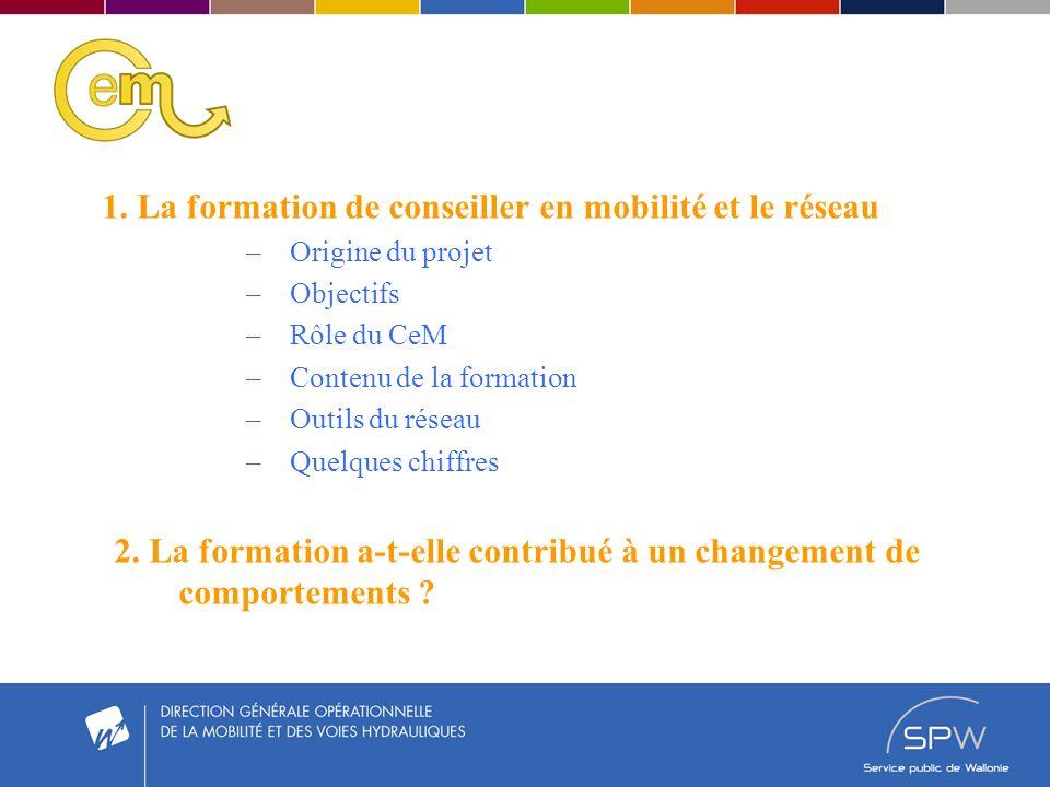 1. La formation de conseiller en mobilité et le réseau –Origine du projet –Objectifs –Rôle du CeM –Contenu de la formation –Outils du réseau –Quelques
