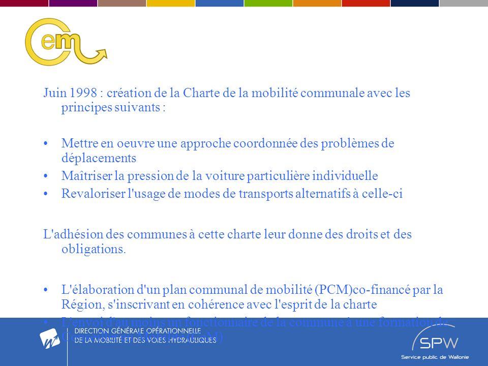 Juin 1998 : création de la Charte de la mobilité communale avec les principes suivants : Mettre en oeuvre une approche coordonnée des problèmes de déplacements Maîtriser la pression de la voiture particulière individuelle Revaloriser l usage de modes de transports alternatifs à celle-ci L adhésion des communes à cette charte leur donne des droits et des obligations.