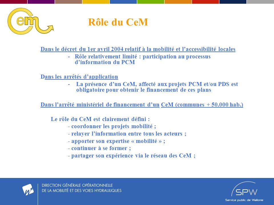Rôle du CeM Dans le décret du 1er avril 2004 relatif à la mobilité et laccessibilité locales -Rôle relativement limité : participation au processus dinformation du PCM Dans les arrêtés dapplication - La présence dun CeM, affecté aux projets PCM et/ou PDS est obligatoire pour obtenir le financement de ces plans Dans larrêté ministériel de financement dun CeM (communes + 50.000 hab.) Le rôle du CeM est clairement défini : - coordonner les projets mobilité ; - relayer linformation entre tous les acteurs ; - apporter son expertise « mobilité » ; - continuer à se former ; - partager son expérience via le réseau des CeM ;