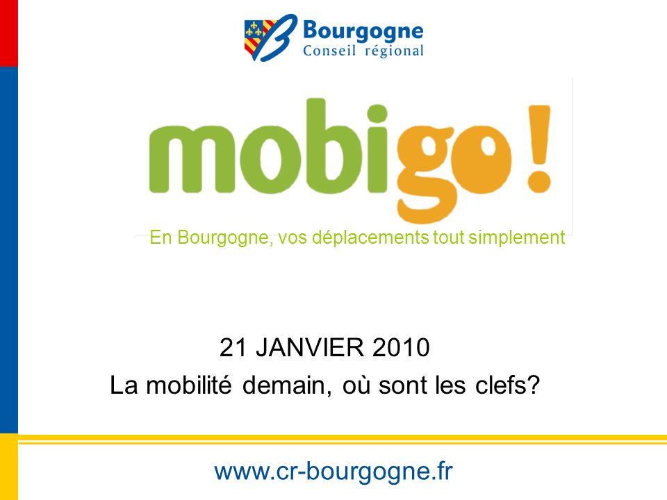 www.cr-bourgogne.fr 21 JANVIER 2010 La mobilité demain, où sont les clefs? En Bourgogne, vos déplacements tout simplement