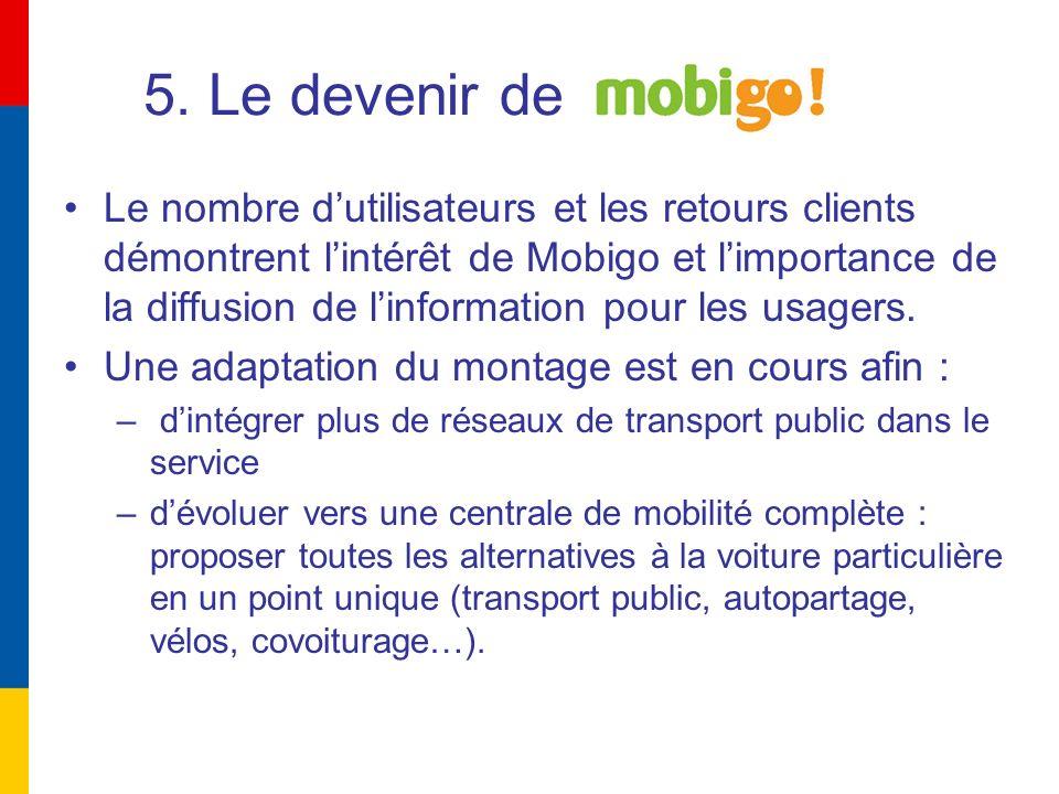 5. Le devenir de Le nombre dutilisateurs et les retours clients démontrent lintérêt de Mobigo et limportance de la diffusion de linformation pour les