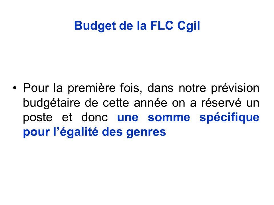 Budget de la FLC Cgil Pour la première fois, dans notre prévision budgétaire de cette année on a réservé un poste et donc une somme spécifique pour légalité des genres