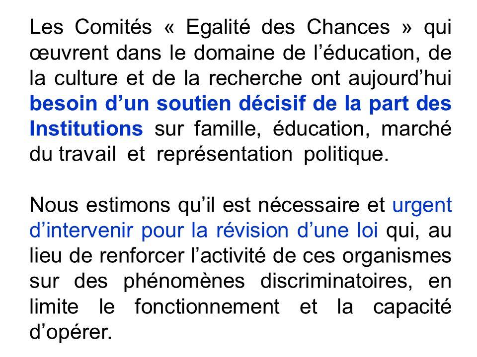 Les Comités « Egalité des Chances » qui œuvrent dans le domaine de léducation, de la culture et de la recherche ont aujourdhui besoin dun soutien décisif de la part des Institutions sur famille, éducation, marché du travail et représentation politique.