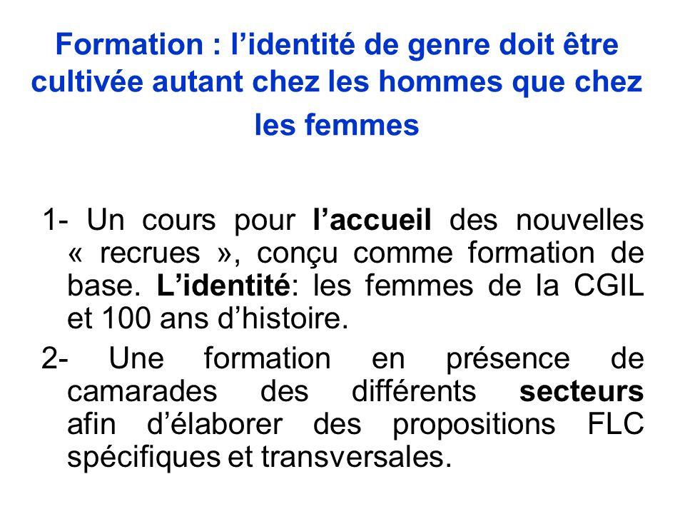 Formation : lidentité de genre doit être cultivée autant chez les hommes que chez les femmes 1- Un cours pour laccueil des nouvelles « recrues », conçu comme formation de base.