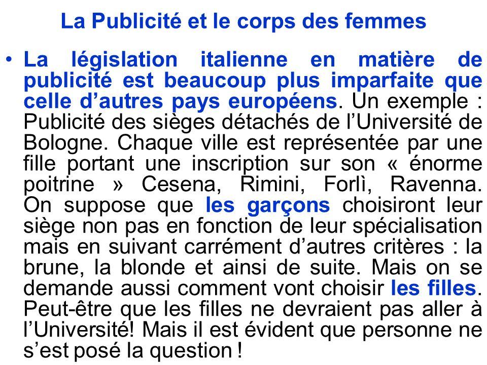 La Publicité et le corps des femmes La législation italienne en matière de publicité est beaucoup plus imparfaite que celle dautres pays européens.