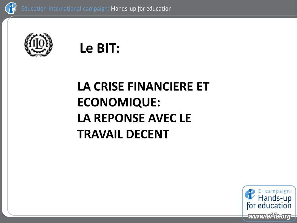 Le BIT: LA CRISE FINANCIERE ET ECONOMIQUE: LA REPONSE AVEC LE TRAVAIL DECENT