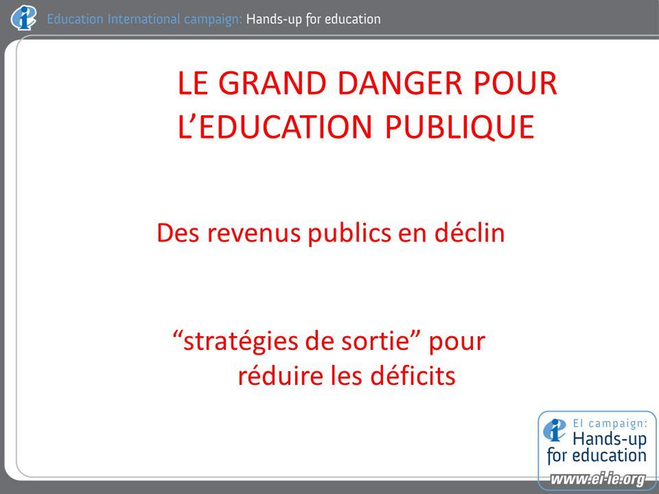 LE GRAND DANGER POUR LEDUCATION PUBLIQUE Des revenus publics en déclin stratégies de sortie pour réduire les déficits