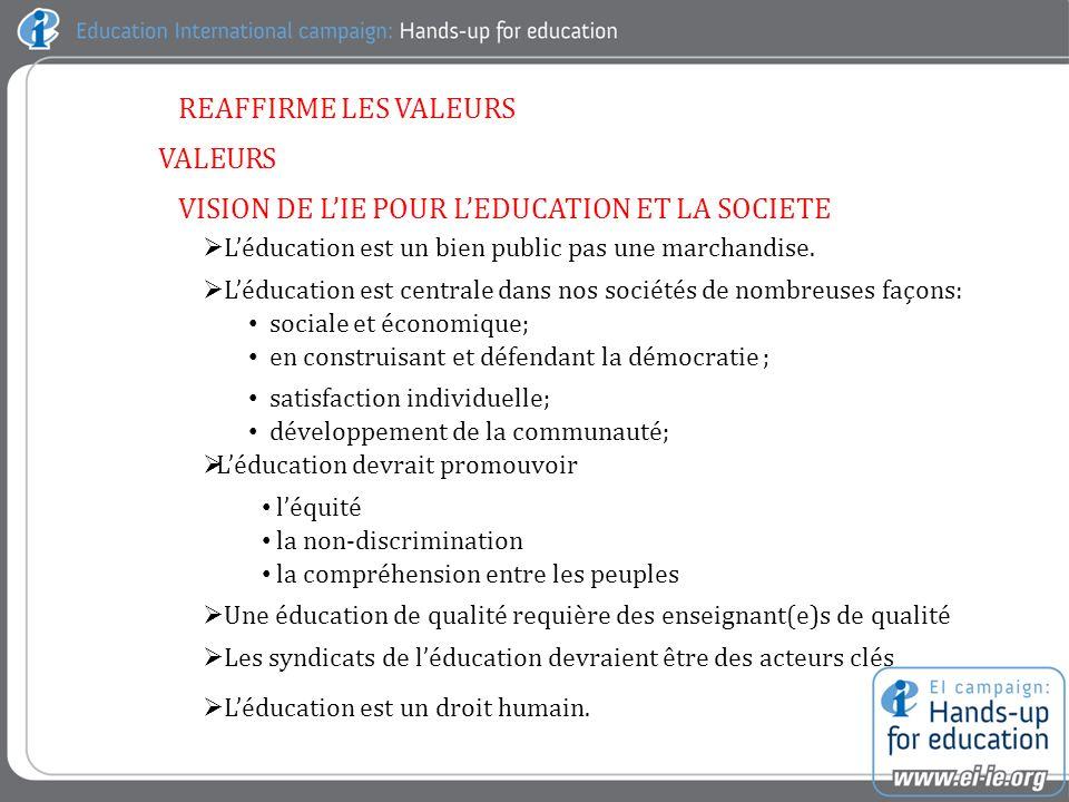 REAFFIRME LES VALEURS VALEURS VISION DE LIE POUR LEDUCATION ET LA SOCIETE Léducation est un bien public pas une marchandise.