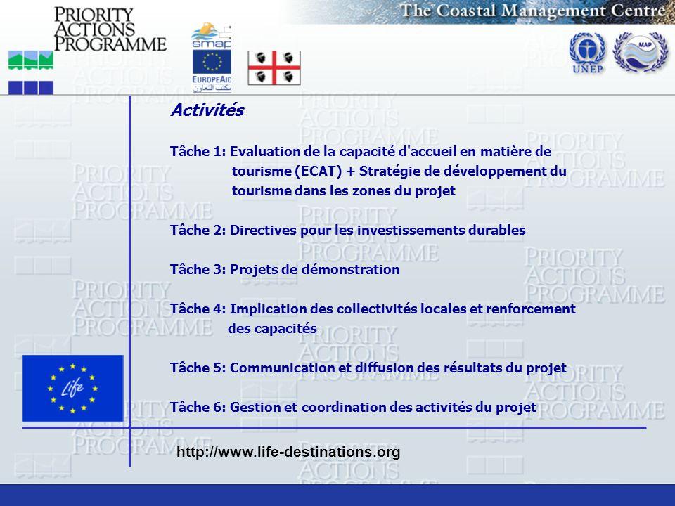 Activités Tâche 1: Evaluation de la capacité d'accueil en matière de tourisme (ECAT) + Stratégie de développement du tourisme dans les zones du projet