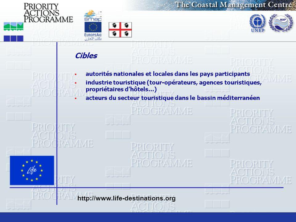 Cibles autorités nationales et locales dans les pays participants industrie touristique (tour-opérateurs, agences touristiques, propriétaires dhôtels…