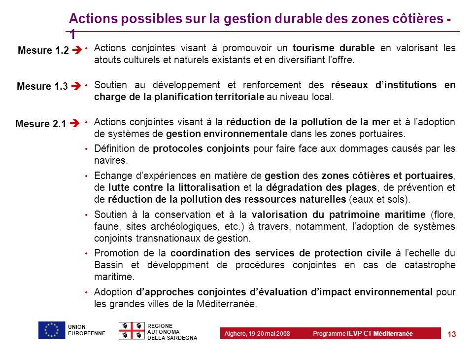 Programme IEVP CT Méditerranée Alghero, 19-20 mai 2008 REGIONE AUTONOMA DELLA SARDEGNA 13 UNION EUROPEENNE Actions possibles sur la gestion durable de