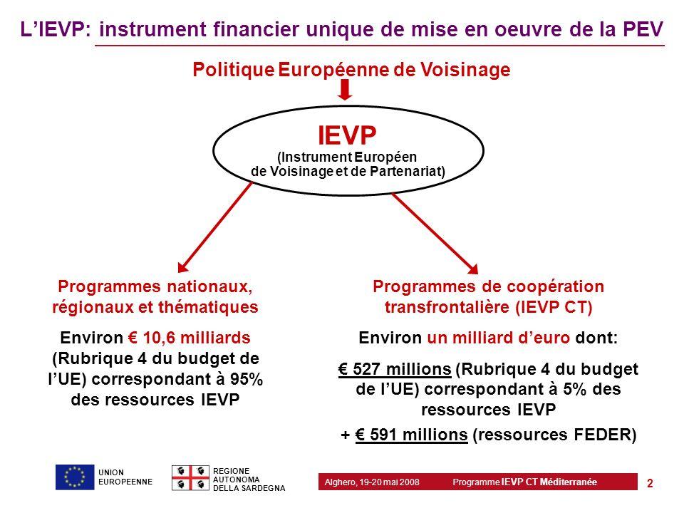 Programme IEVP CT Méditerranée Alghero, 19-20 mai 2008 REGIONE AUTONOMA DELLA SARDEGNA 2 UNION EUROPEENNE LIEVP: instrument financier unique de mise e