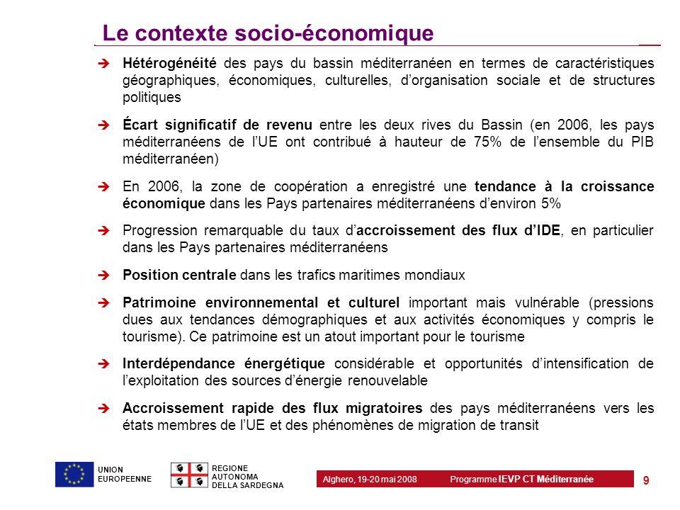 Programme IEVP CT Méditerranée Alghero, 19-20 mai 2008 REGIONE AUTONOMA DELLA SARDEGNA 9 UNION EUROPEENNE Le contexte socio-économique Hétérogénéité d