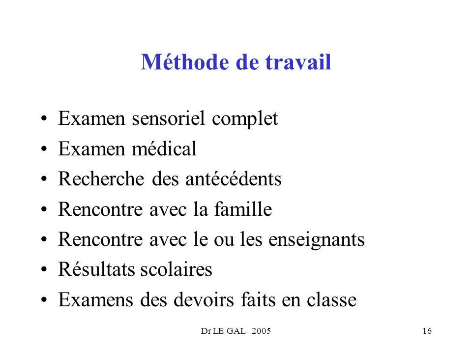 Dr LE GAL 200516 Méthode de travail Examen sensoriel complet Examen médical Recherche des antécédents Rencontre avec la famille Rencontre avec le ou l
