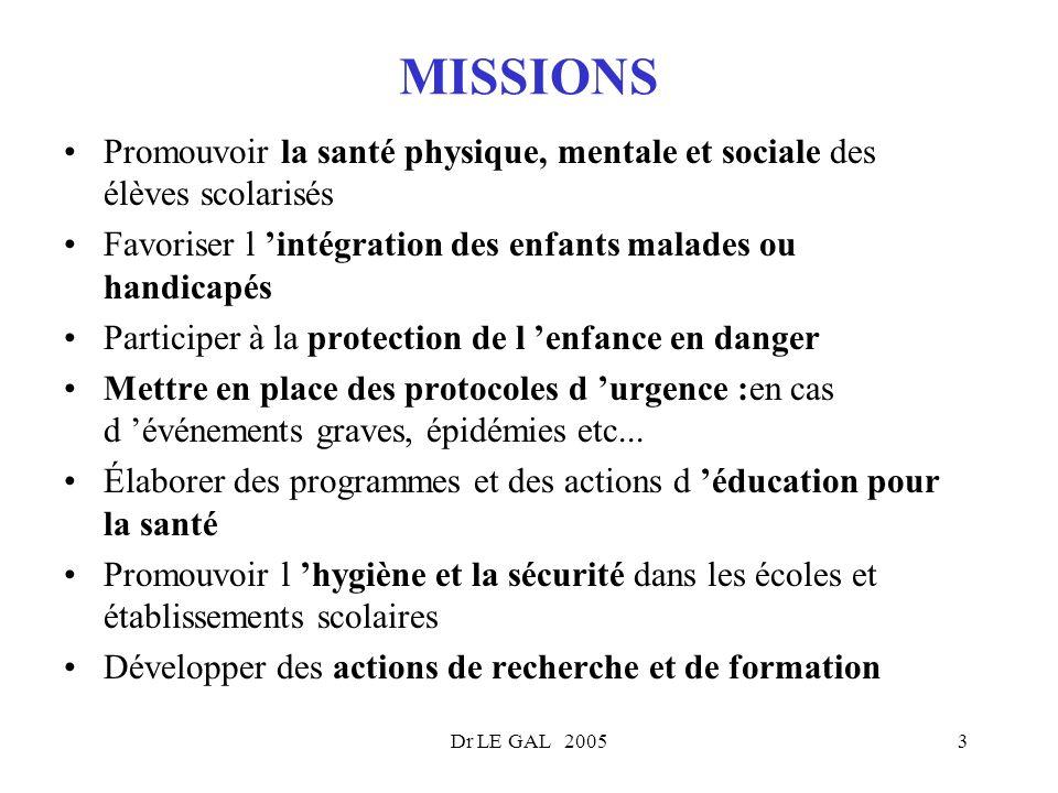 Dr LE GAL 20053 MISSIONS Promouvoir la santé physique, mentale et sociale des élèves scolarisés Favoriser l intégration des enfants malades ou handica