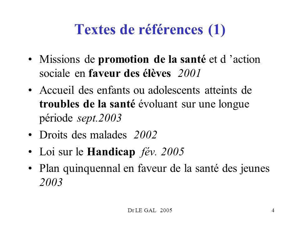 Dr LE GAL 20054 Textes de références (1) Missions de promotion de la santé et d action sociale en faveur des élèves 2001 Accueil des enfants ou adoles