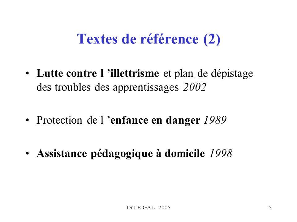 Dr LE GAL 20055 Textes de référence (2) Lutte contre l illettrisme et plan de dépistage des troubles des apprentissages 2002 Protection de l enfance e