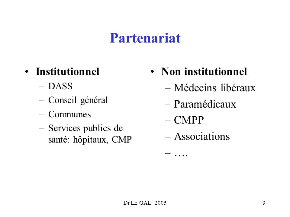 Dr LE GAL 20059 Partenariat Institutionnel –DASS –Conseil général –Communes –Services publics de santé: hôpitaux, CMP Non institutionnel –Médecins lib