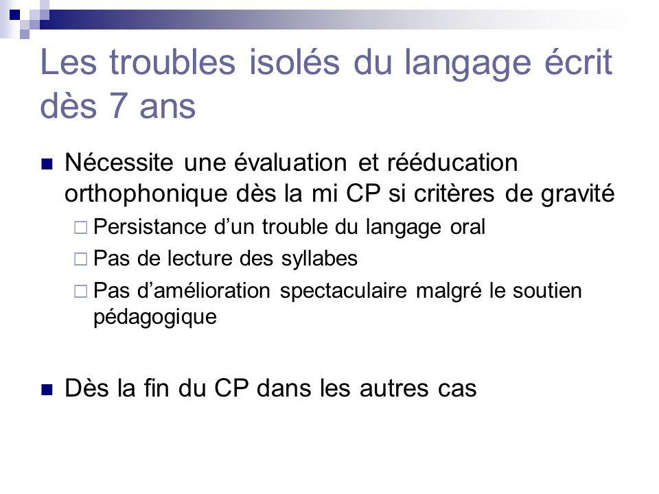 Les troubles isolés du langage écrit dès 7 ans Nécessite une évaluation et rééducation orthophonique dès la mi CP si critères de gravité Persistance d