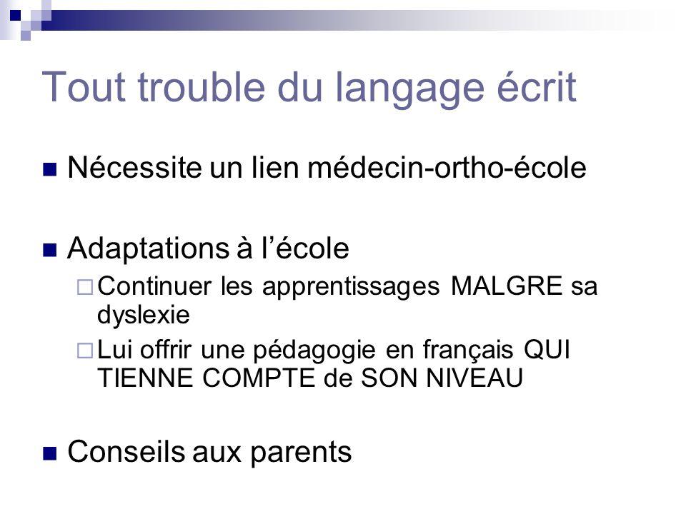 Tout trouble du langage écrit Nécessite un lien médecin-ortho-école Adaptations à lécole Continuer les apprentissages MALGRE sa dyslexie Lui offrir un