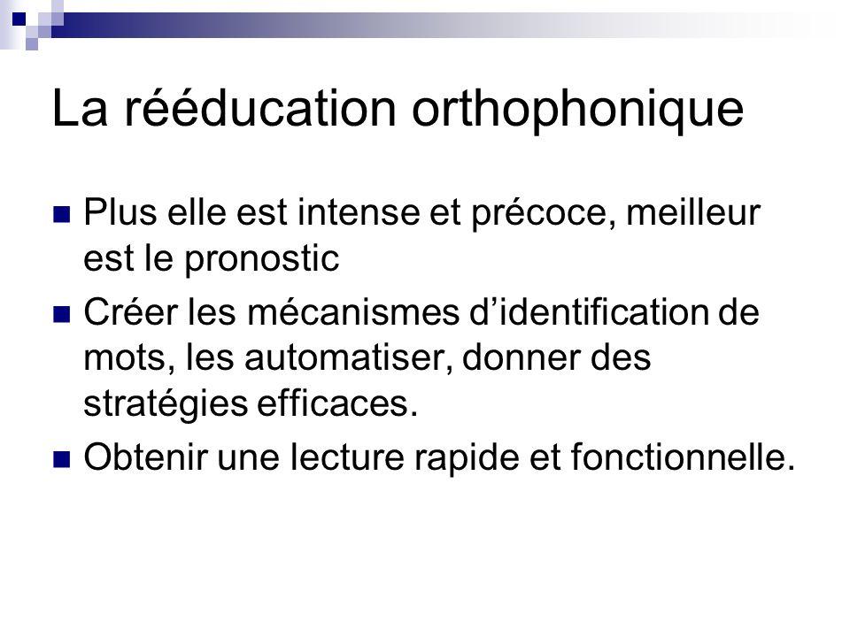 La rééducation orthophonique Plus elle est intense et précoce, meilleur est le pronostic Créer les mécanismes didentification de mots, les automatiser