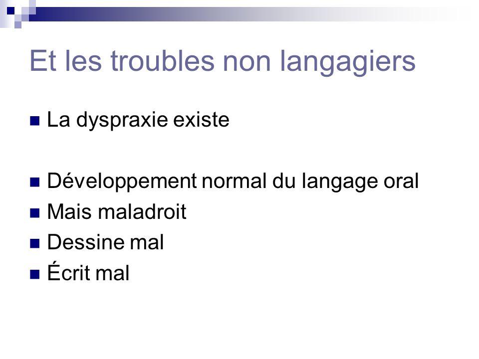 Et les troubles non langagiers La dyspraxie existe Développement normal du langage oral Mais maladroit Dessine mal Écrit mal