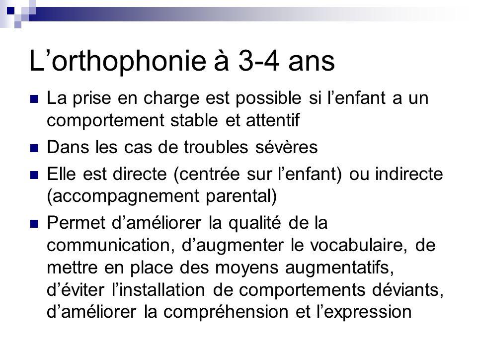 Lorthophonie à 3-4 ans La prise en charge est possible si lenfant a un comportement stable et attentif Dans les cas de troubles sévères Elle est direc