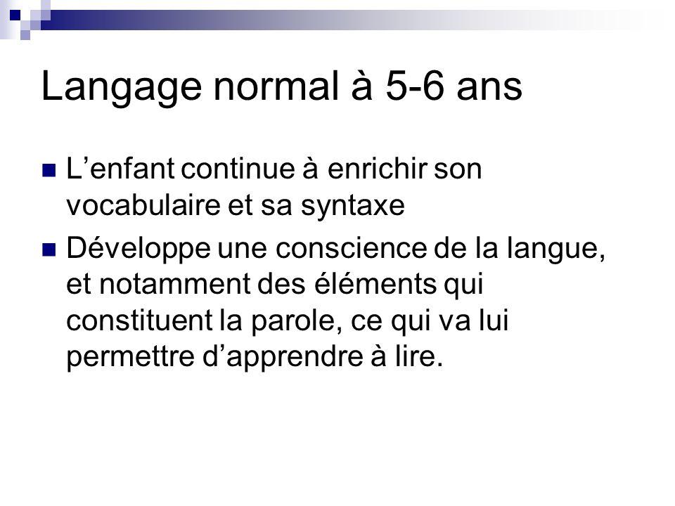 Langage normal à 5-6 ans Lenfant continue à enrichir son vocabulaire et sa syntaxe Développe une conscience de la langue, et notamment des éléments qu